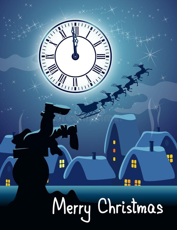 Santa dans la cheminée sur le toit illustration stock