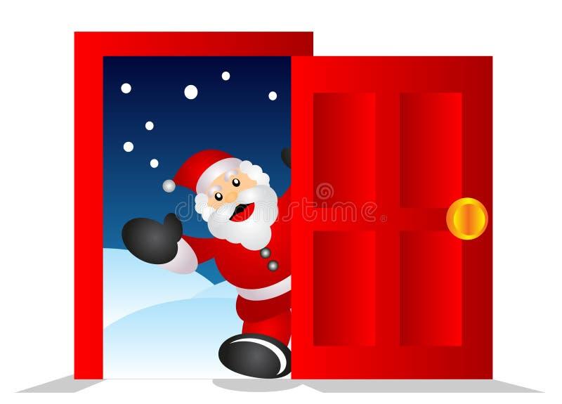 Santa dans la maison illustration de vecteur