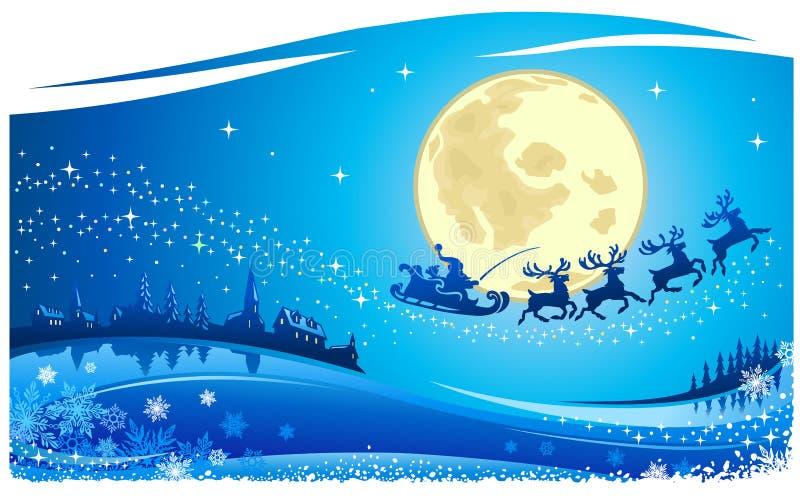 Santa dans le ciel de Noël illustration de vecteur