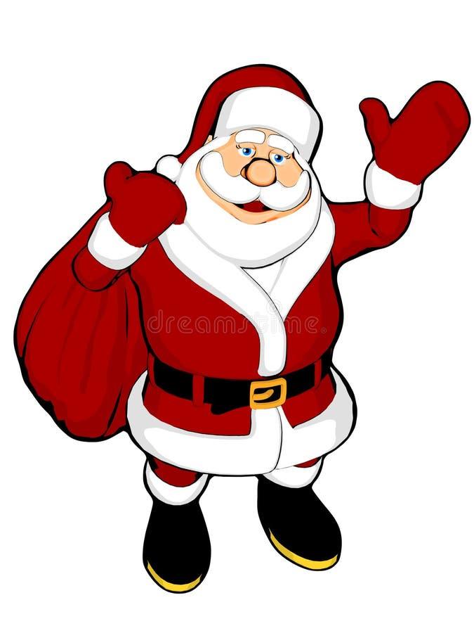Santa de ondulation avec le sac illustration libre de droits