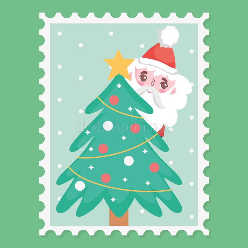 Santa and decorative tree star balls merry christmas stamp. Vector illustration vector illustration