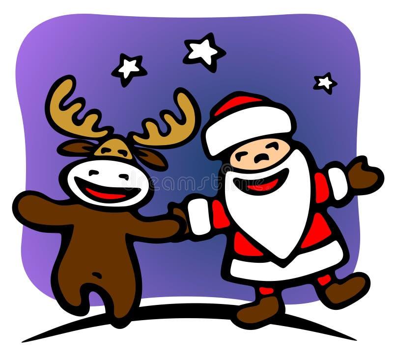 Santa And Deer Stock Photo