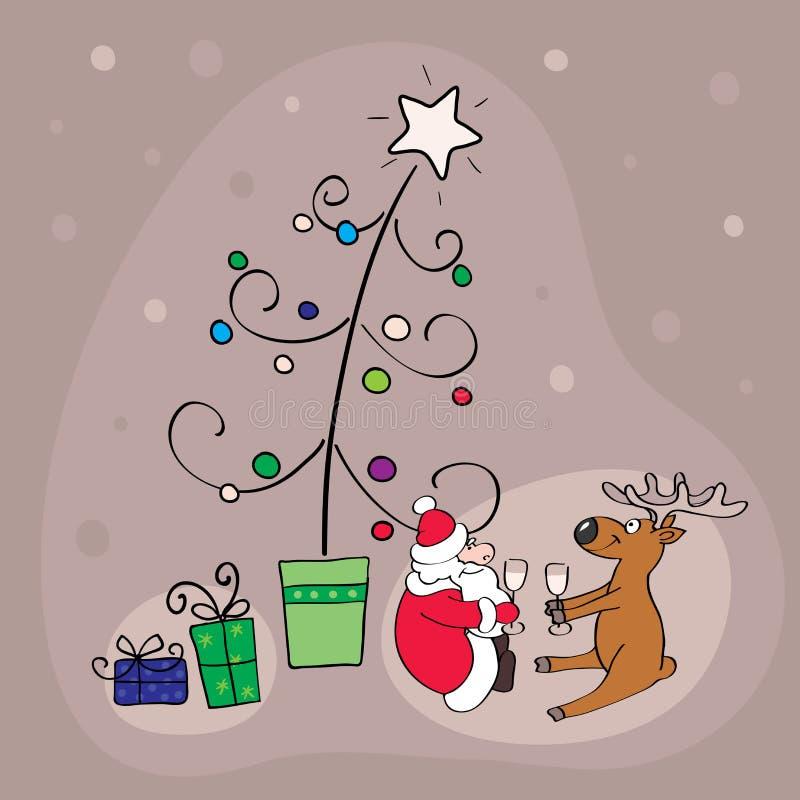 Santa With Deer Celebrate Christmas Stock Photo