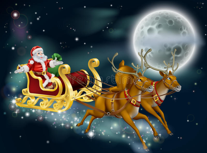 Santa on Delivering Gifts on Christmas Eve. A Christmas illustration of Santa delivering gifts on Christmas Eve night with the moon in the background stock illustration