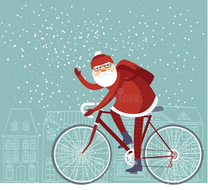 Santa dernier cri illustration de vecteur