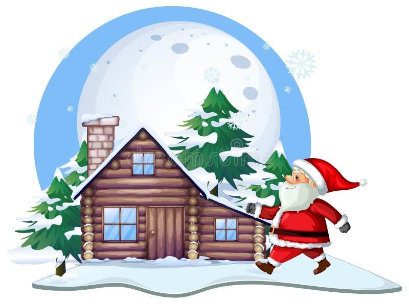 Santa devant la maison de cabine illustration de vecteur