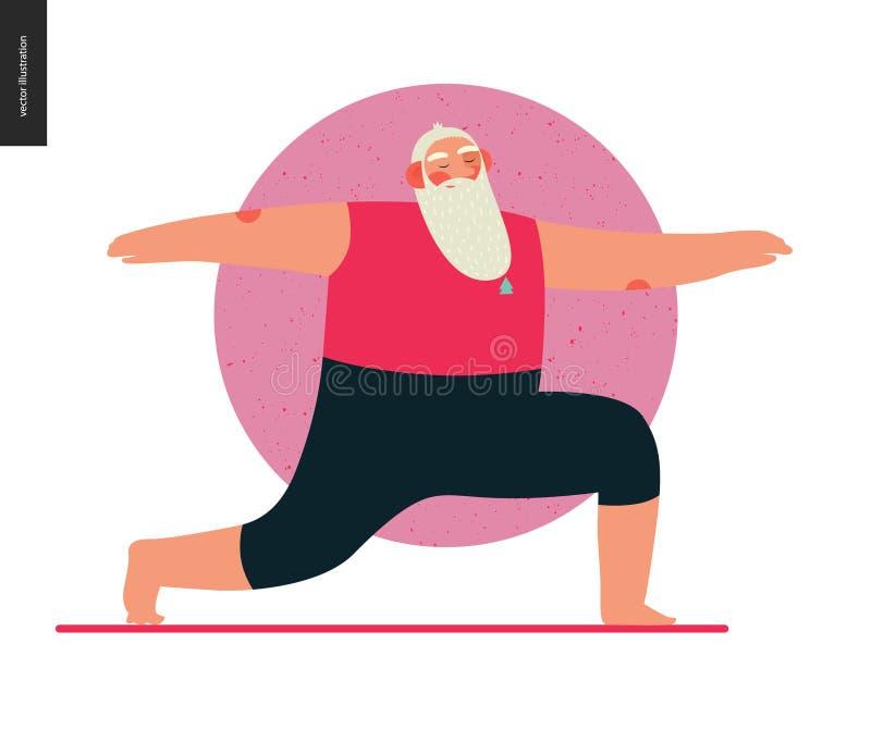 Santa di sport - yoga illustrazione di stock