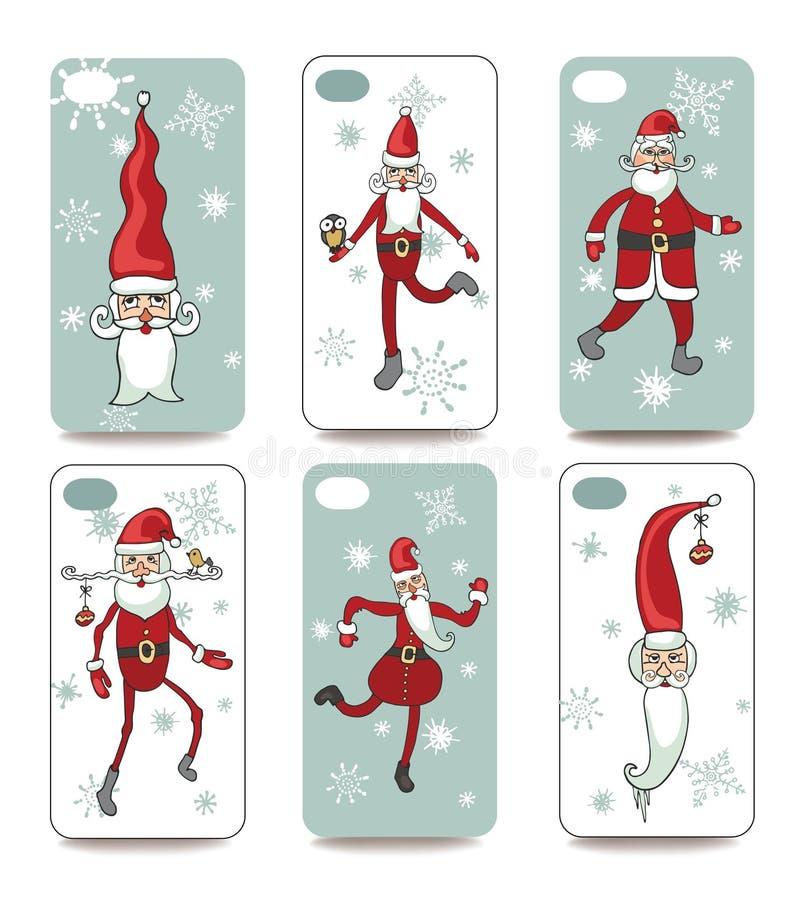 Santa divertente Copertura del telefono cellulare indietro messa illustrazione di stock