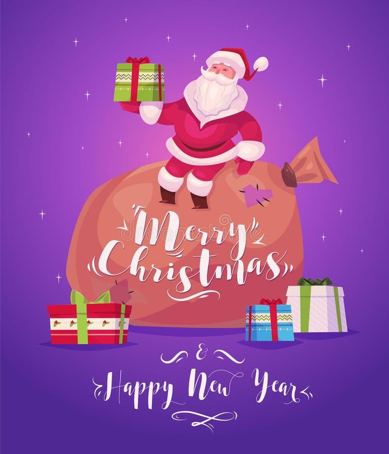 Santa divertido Cartel del fondo de la tarjeta de felicitación de la Navidad Ilustración del vector ilustración del vector