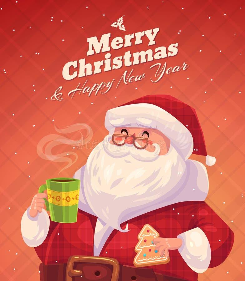 Santa divertido Fondo de la tarjeta de felicitación de la Navidad stock de ilustración