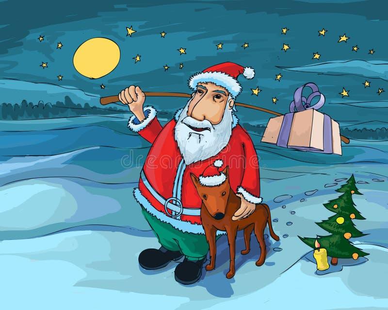 Santa and dog stock photography
