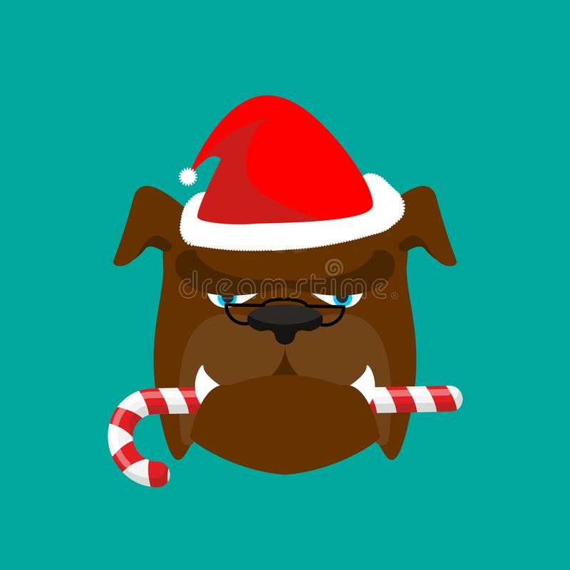Free Santa Dog And Candy Cane. Christmas Home Pet. Xmas Bulldog. New Royalty Free Stock Image - 101962666