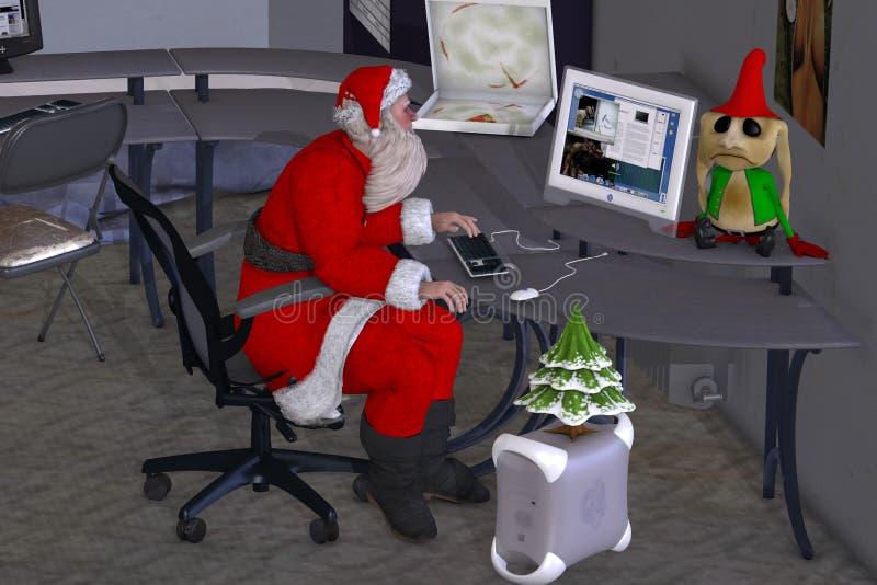 Santa is doing overtime stock illustration