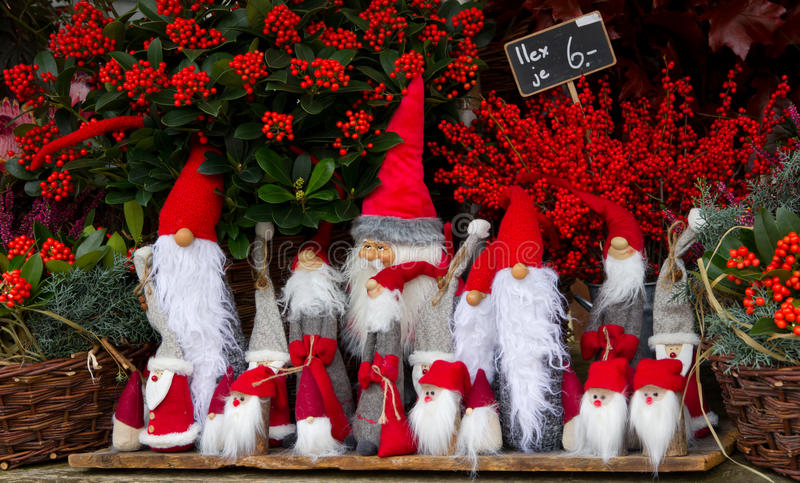 Santa doll at the stall. Of house decoration royalty free stock images