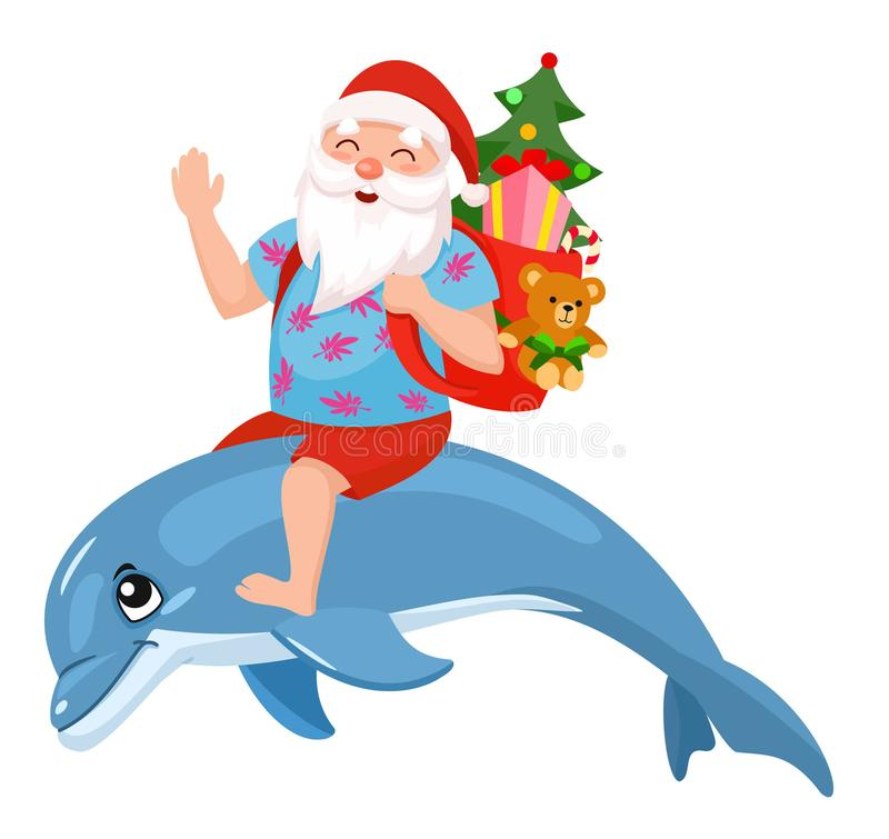 Santa dolphin stock vector. Illustration of small ...