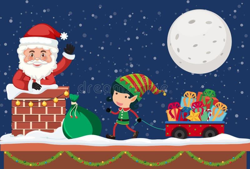 Santa donnant le cadeau par la cheminée illustration libre de droits
