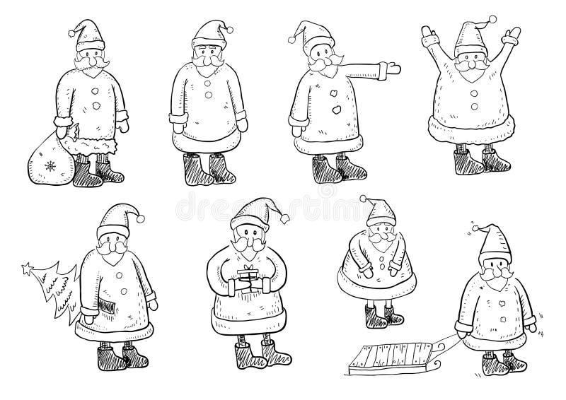 Santa Doodles royalty-vrije illustratie