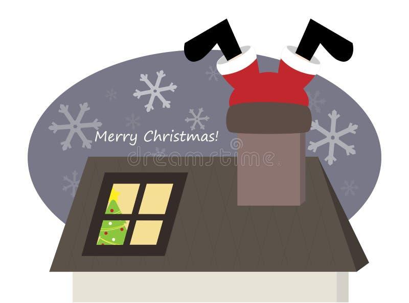 Santa drôle s'élevant par la cheminée illustration stock