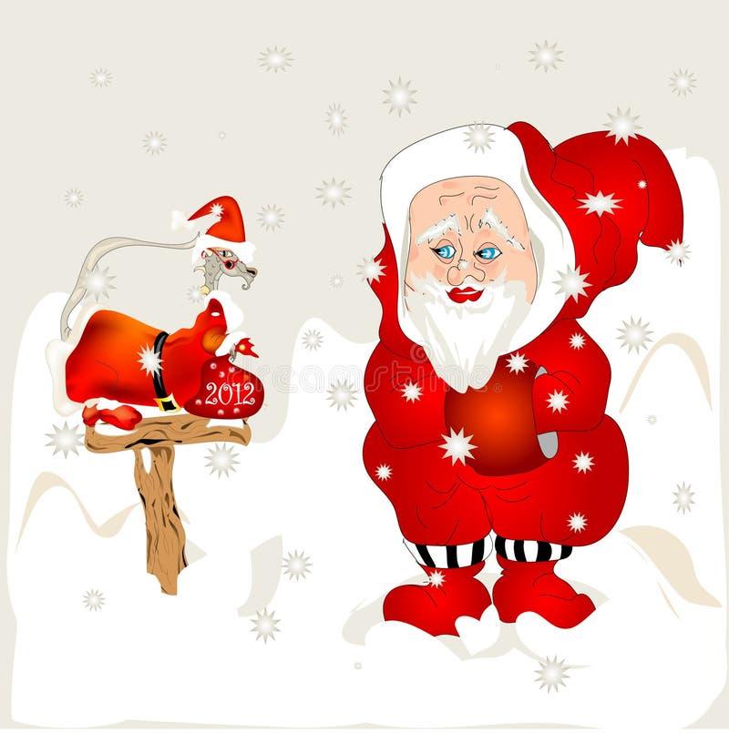 Santa and Dragon stock illustration