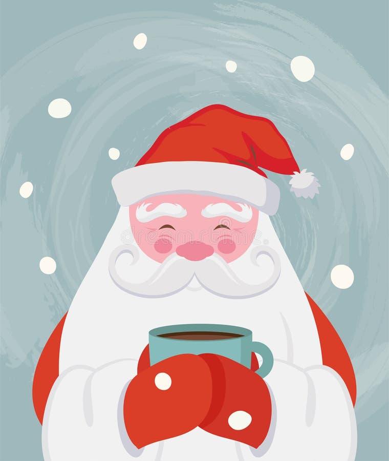 Santa drinking a hot drink at winter scenary. Vector christmas illustration stock illustration