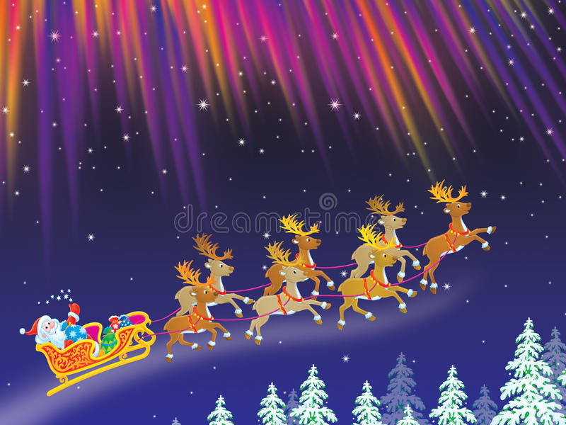 Download Santa Drives Sledge With Reindeers Stock Illustration - Image: 11491265