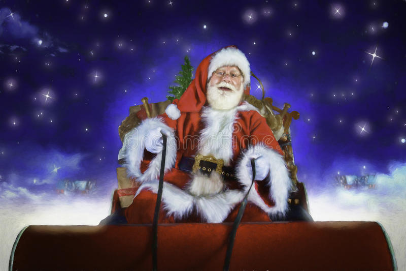 Santa Driving His Sleigh. On the night before Christmas stock photo