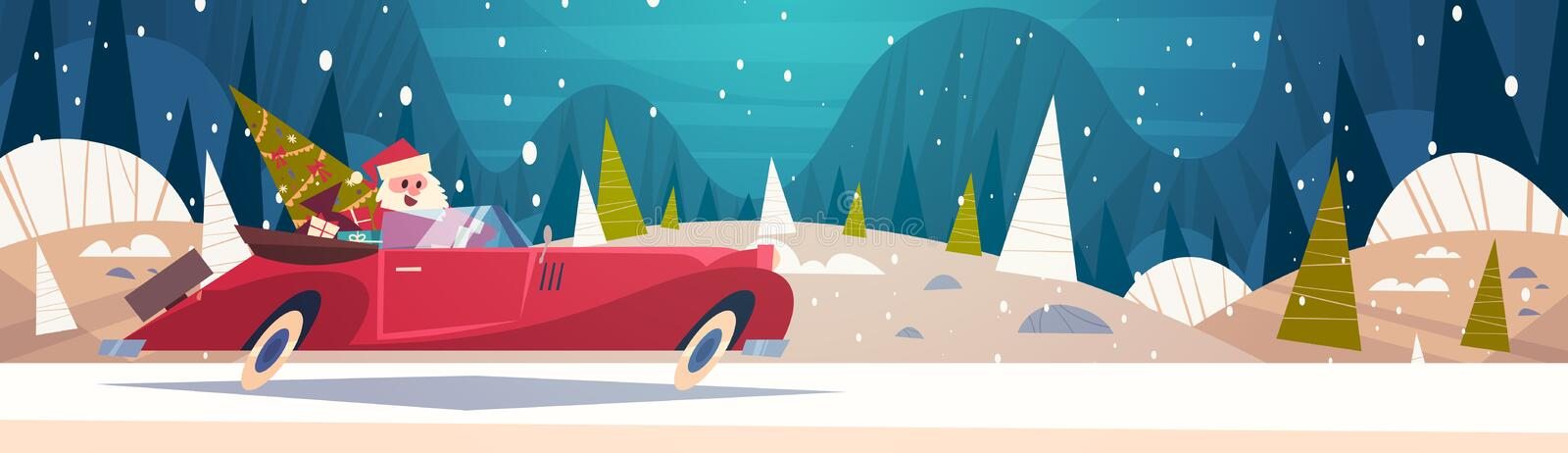 Santa Driving Retro Car With Green Tree And Presents In Winter Forest Merry Christmas And Happy New Year Poster vector illustration