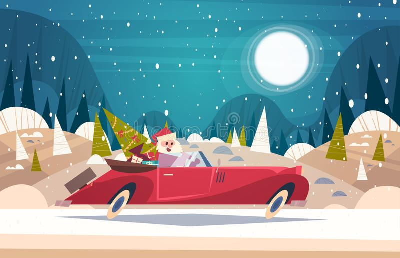 Santa Driving Retro Car With Green Tree And Presents In Winter Forest Merry Christmas And Happy New Year Poster. Background Flat Vector Illustration stock illustration