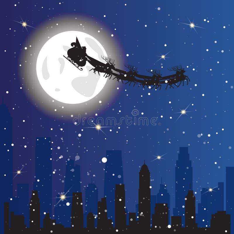 Santa Driving Sledge In Sky die over het Concept van de van de Achtergrond nachtstad Kerstmisvakantie vliegen vector illustratie