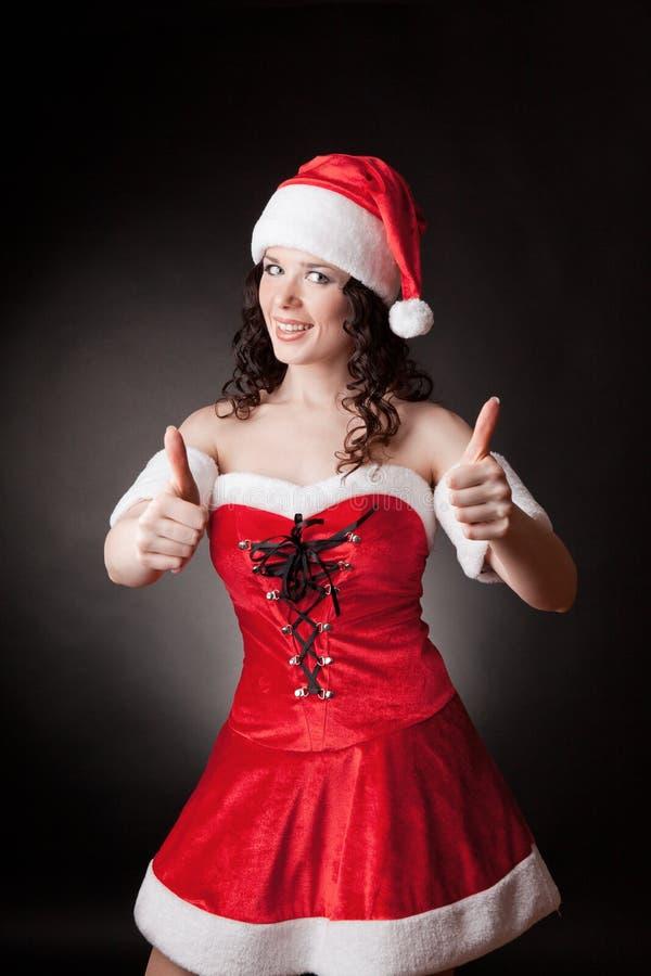 Santa dziewczyna pokazywać zdjęcie royalty free