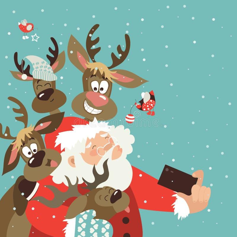Santa e as renas tomam um selfie ilustração stock