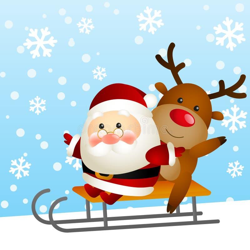 Santa e cervi divertenti illustrazione vettoriale