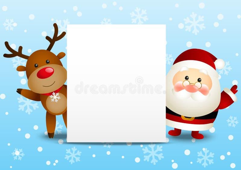 Santa e cervos engraçados ilustração royalty free