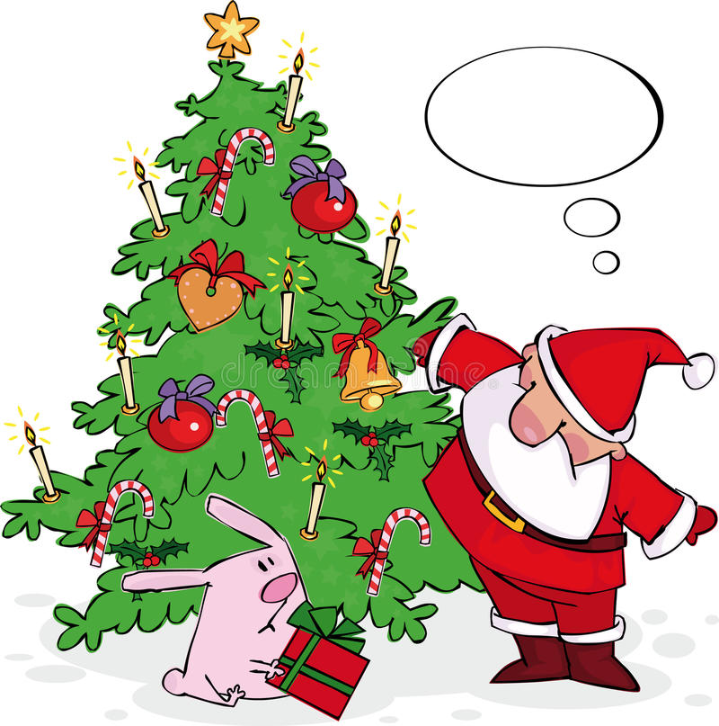 Santa e coelho ilustração stock