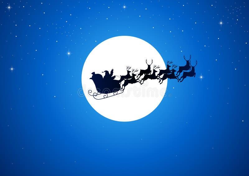 Santa e la luna illustrazione di stock