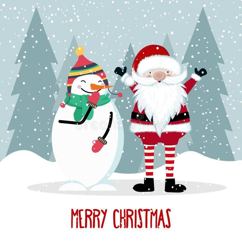 Santa e pupazzo di neve illustrazione vettoriale