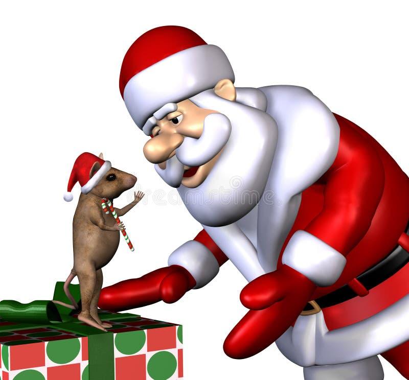 Santa e rato do Natal - com trajeto de grampeamento ilustração do vetor