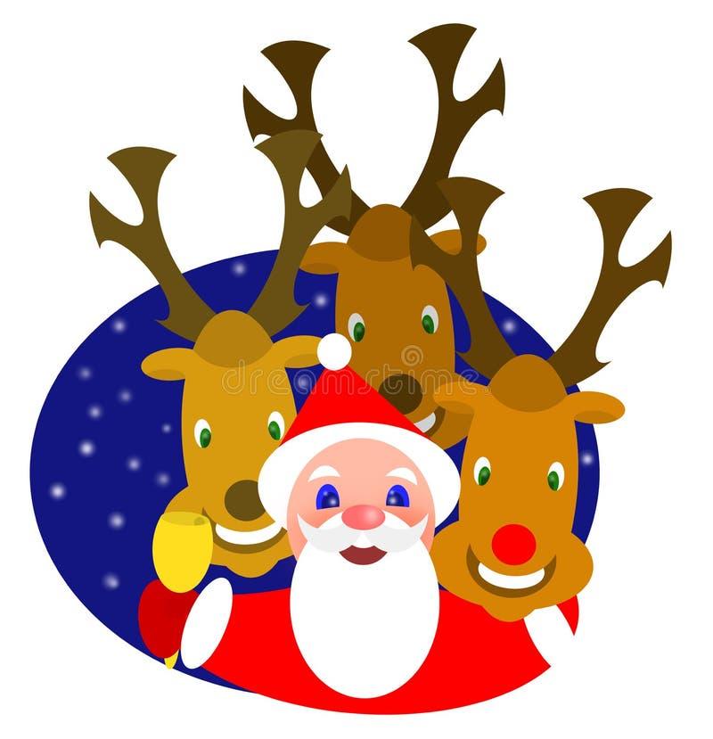Santa e renne illustrazione di stock