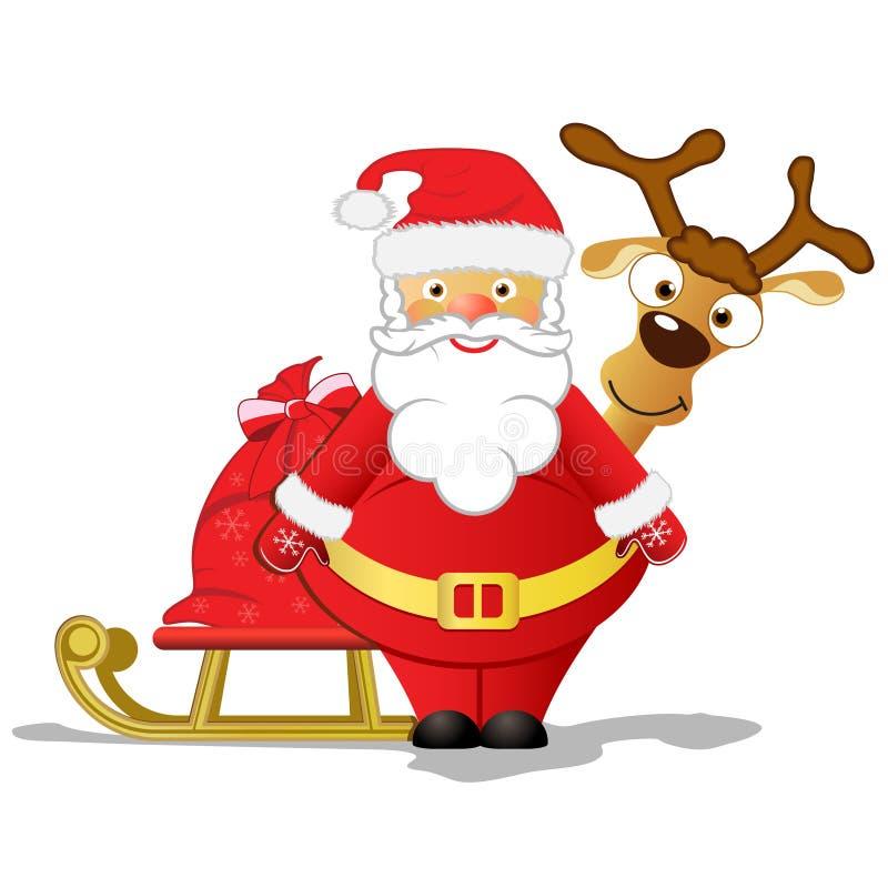 Santa e Rudolph illustrazione di stock