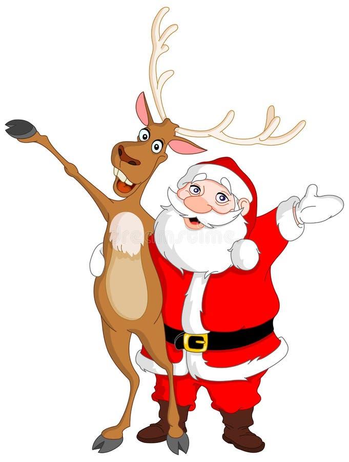 Santa e Rudolph ilustração do vetor