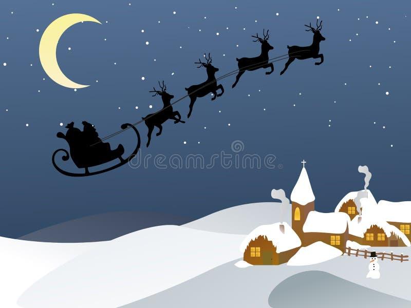 Santa e seu trenó ilustração royalty free