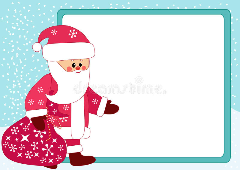 Santa e tabellone per le affissioni. illustrazione vettoriale