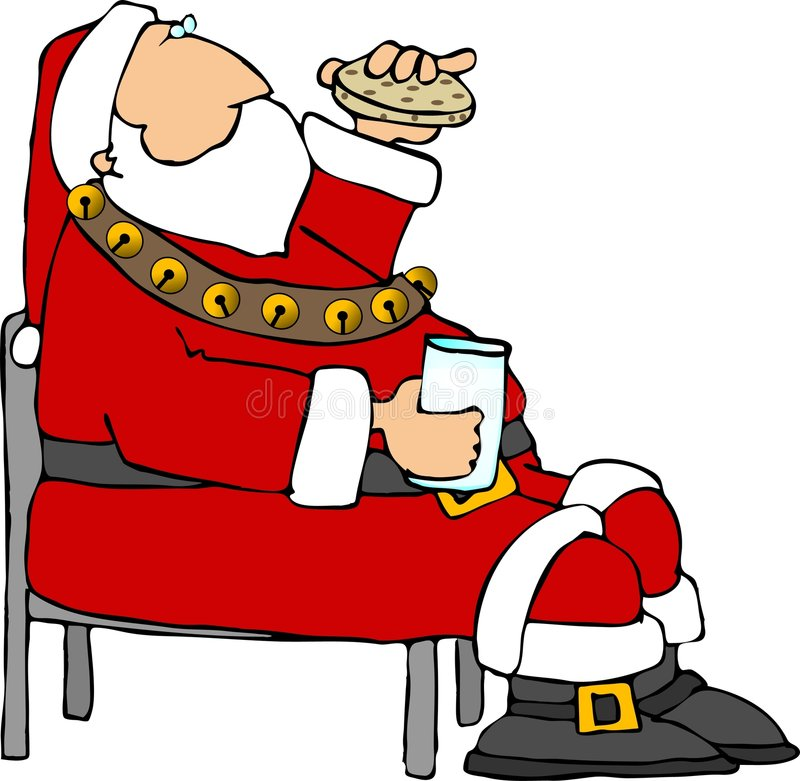 Santa eating a cookie and milk. This illustration depicts Santa eating a cookie and milk vector illustration
