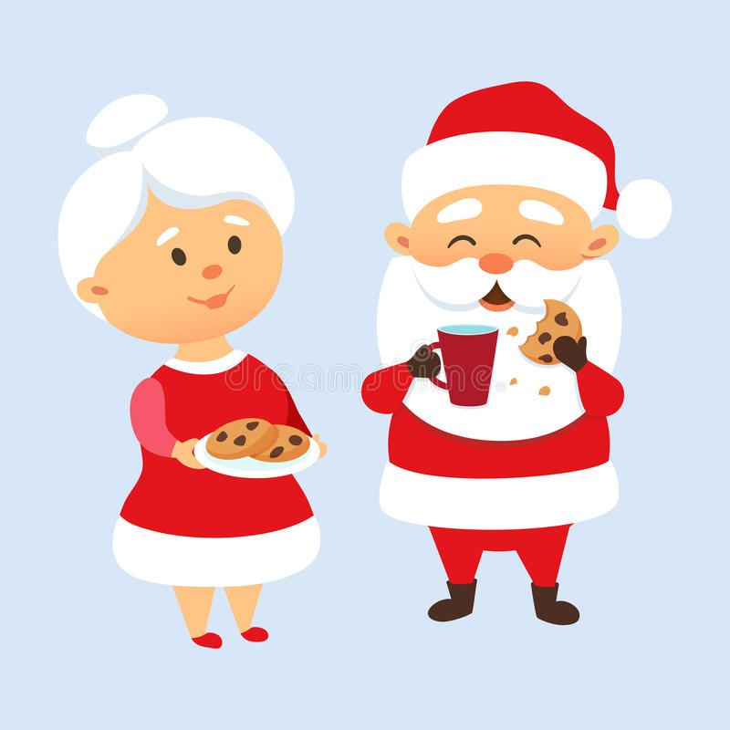 Santa eating cookies royalty free illustration