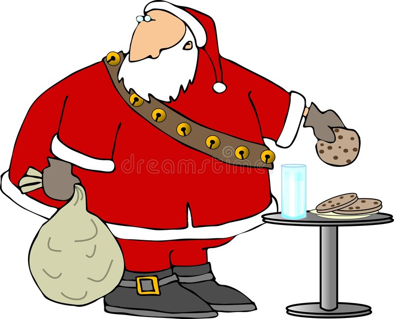 Santa eating cookies and milk stock illustration