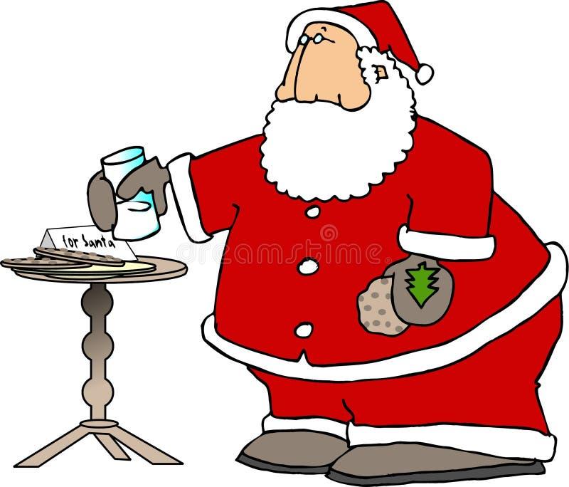 Santa eating snacks stock illustration