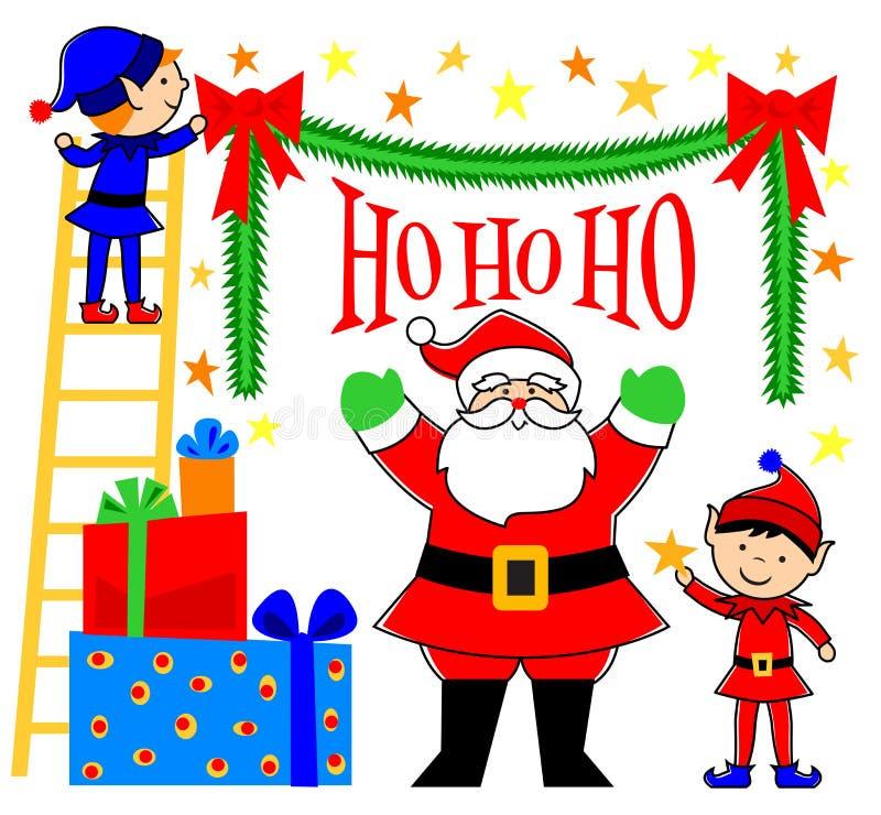 Santa ed elfi che decorano royalty illustrazione gratis