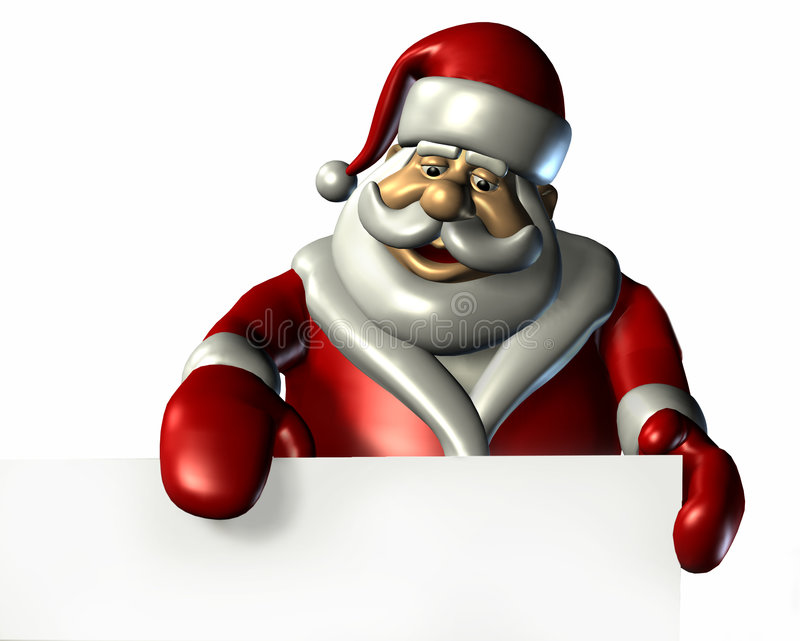 Santa With the Edge of a Blank Sign - with clipping path stock photos