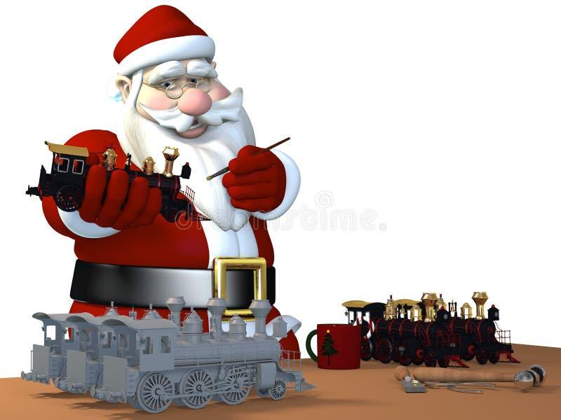 Santa effectuant des jouets illustration de vecteur