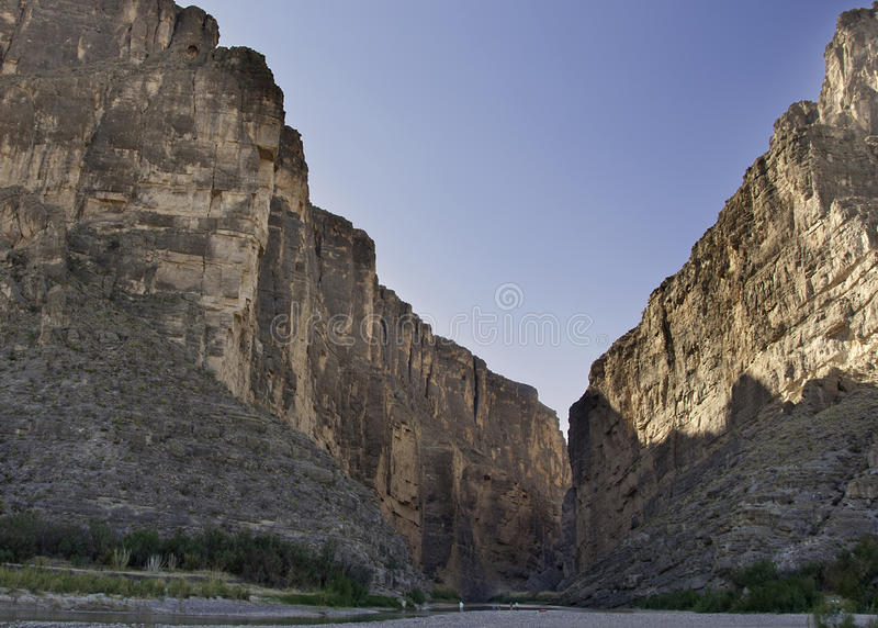 Santa Elena Canyon at Big Bend National Park. Rio Grande River @ USA & Mexico border. Santa Elena Canyon and the Rio Grande River at Big Bend National Park in royalty free stock photos
